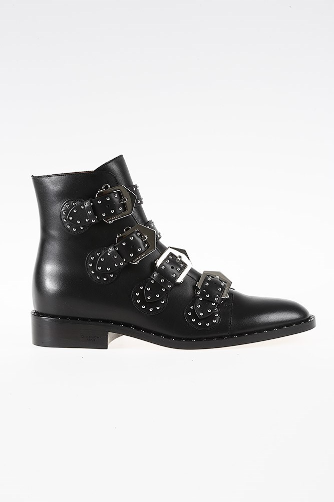 Elegant Flat Black Leather Ankle Boots from Neiman Marcus