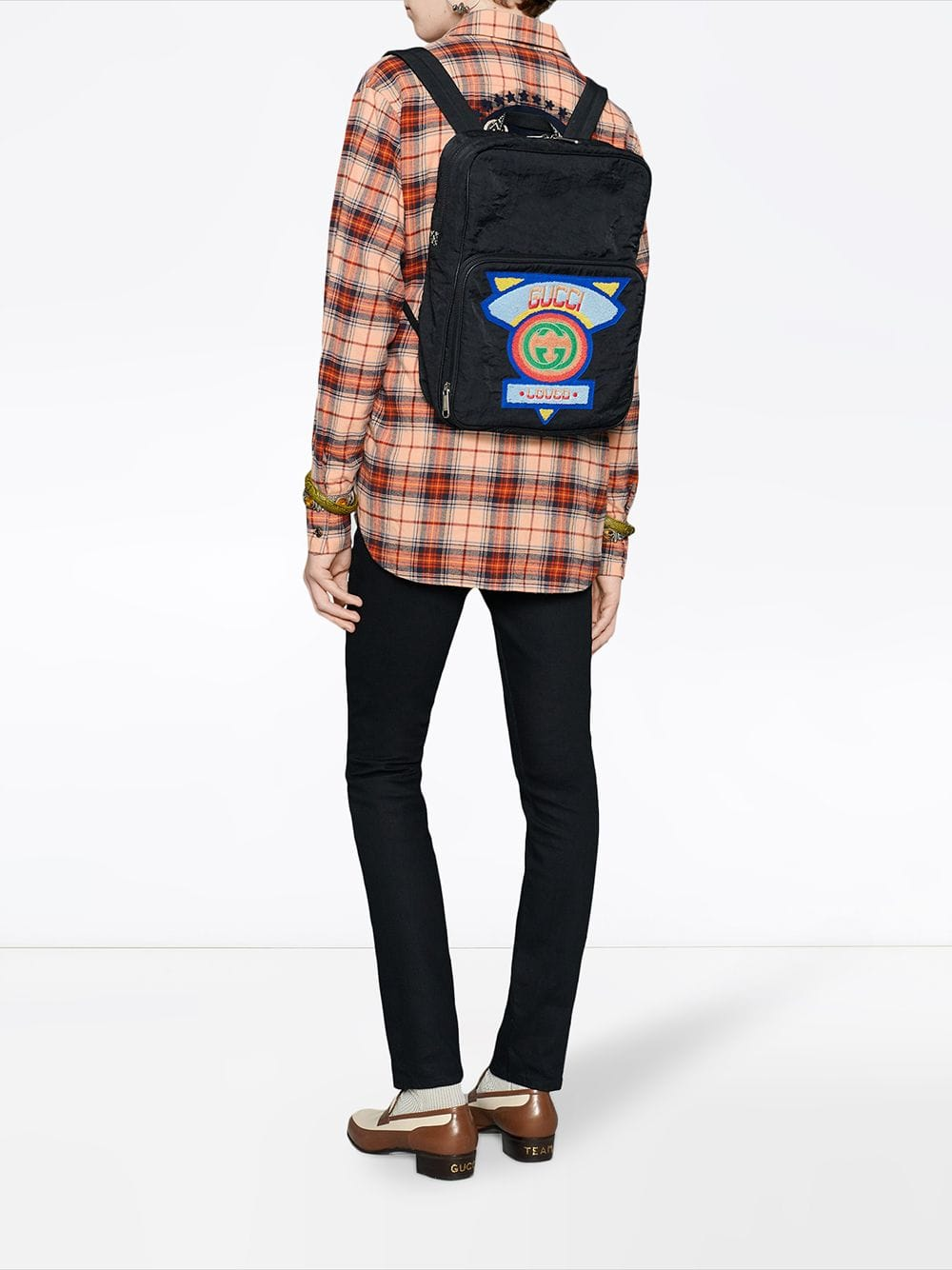 Gucci Men'S Medium 80S Logo-Patched Backpack In Black