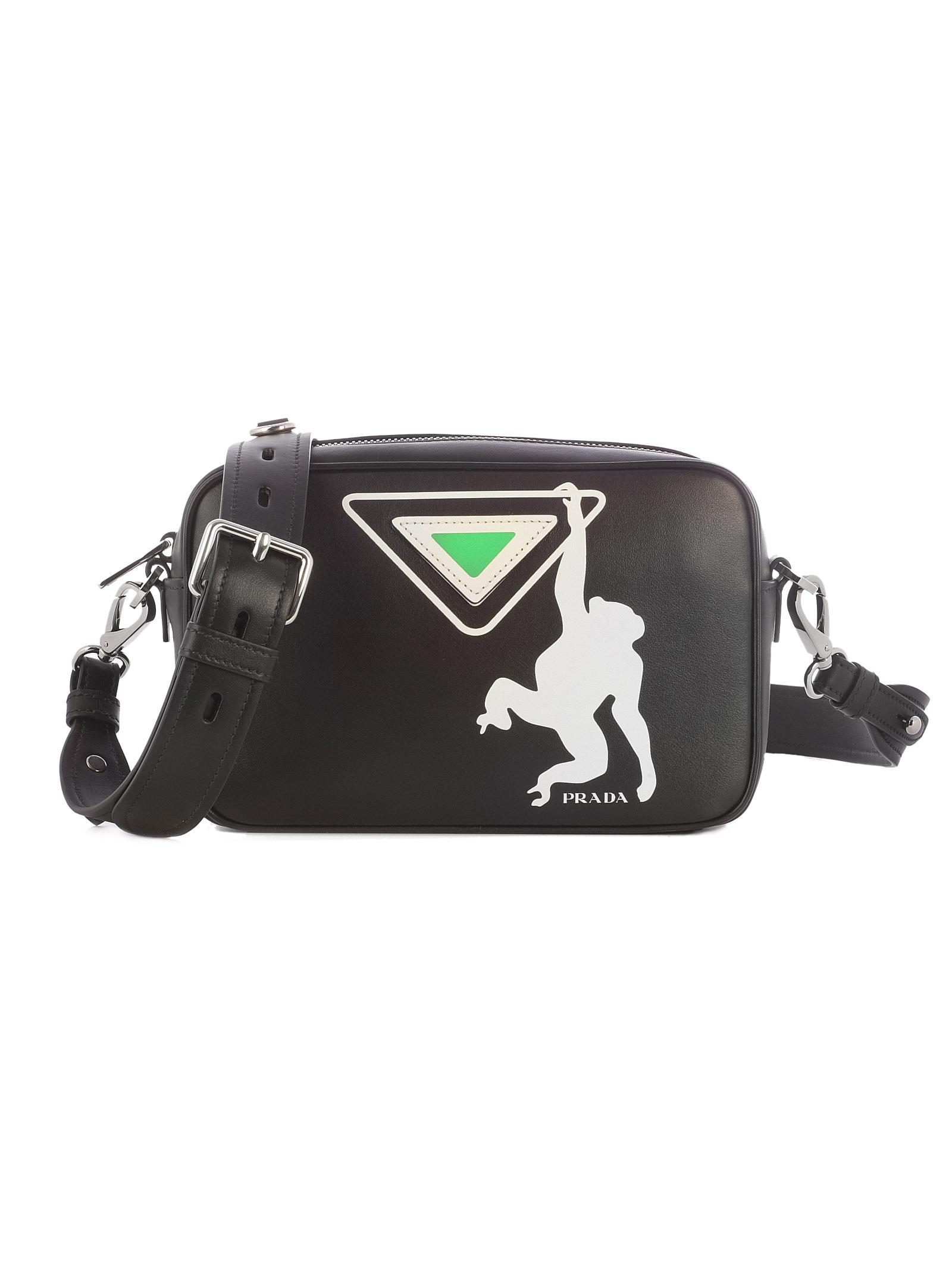 a8a909e257d Prada Monkey Print Leather Bowling Bag In Black Multi Modesens