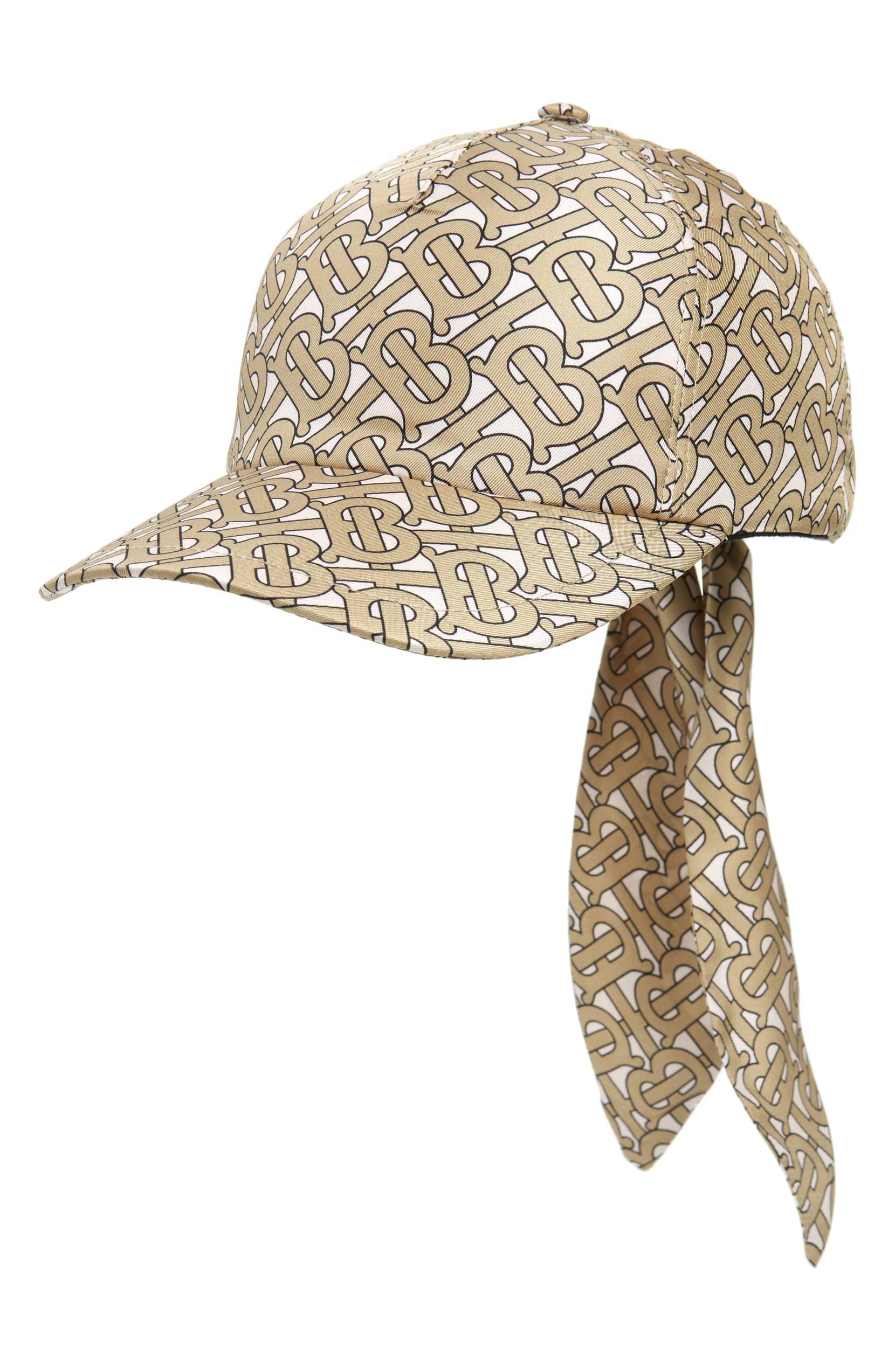 Burberry 徽标丝绸棒球帽 In Brown