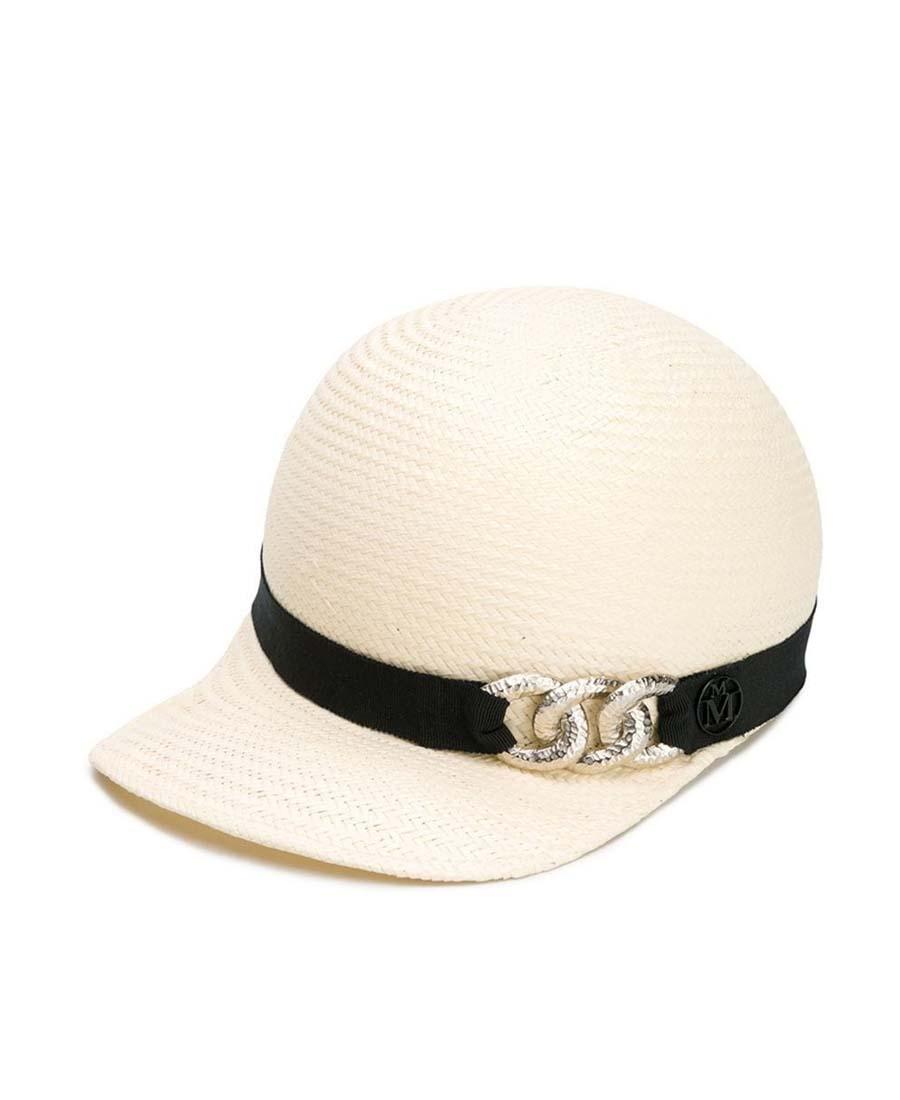 Maison Michel Tiger徽标棒球帽 In Neutrals