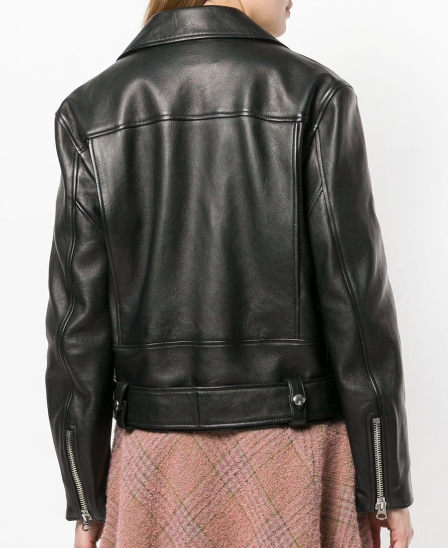 3b5e48501 New Merlyn Belted Leather Motorcycle Jacket in Black
