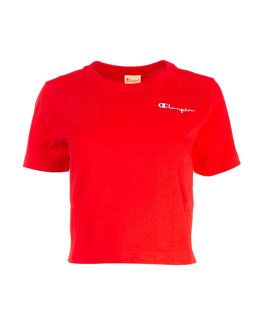 Champion 刺绣logo短款t恤 In Red