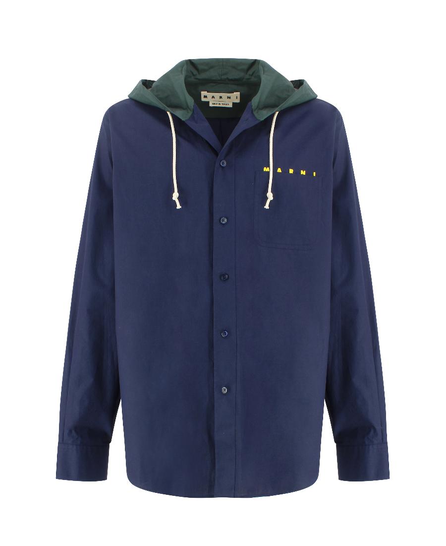 Marni 海军蓝连帽搭扣休闲夹克