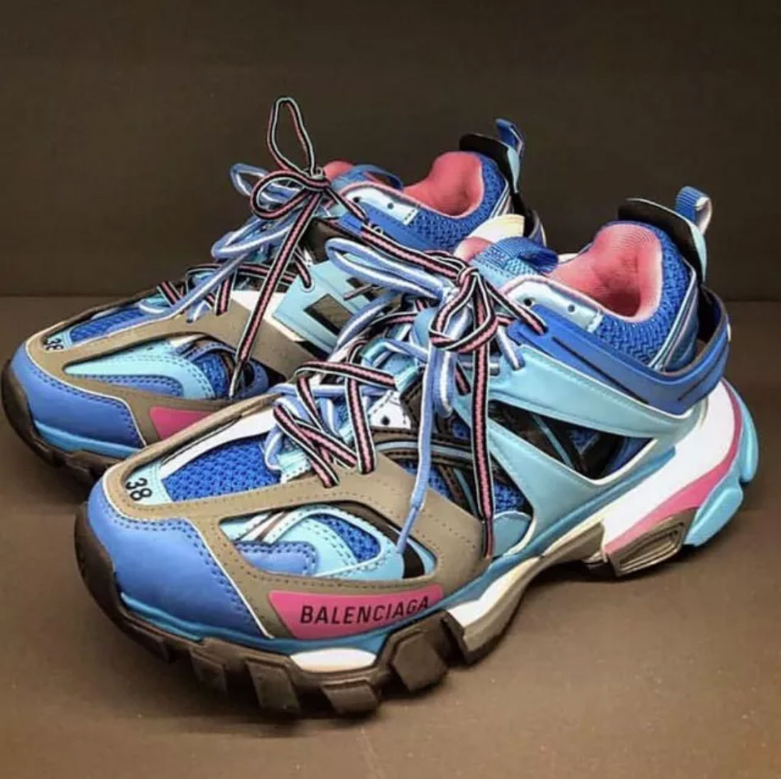 Balenciaga Men's 542023W1Gb54162 Light Blue Leather Sneakers In 4162 Blue
