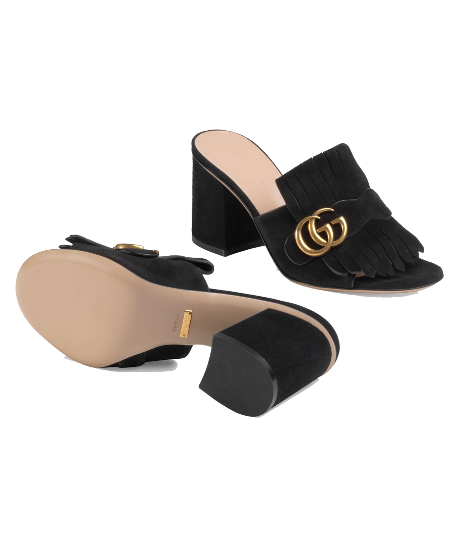 7ae80037ed80 Gucci Marmont Fringed Logo-Embellished Suede Mules In Black
