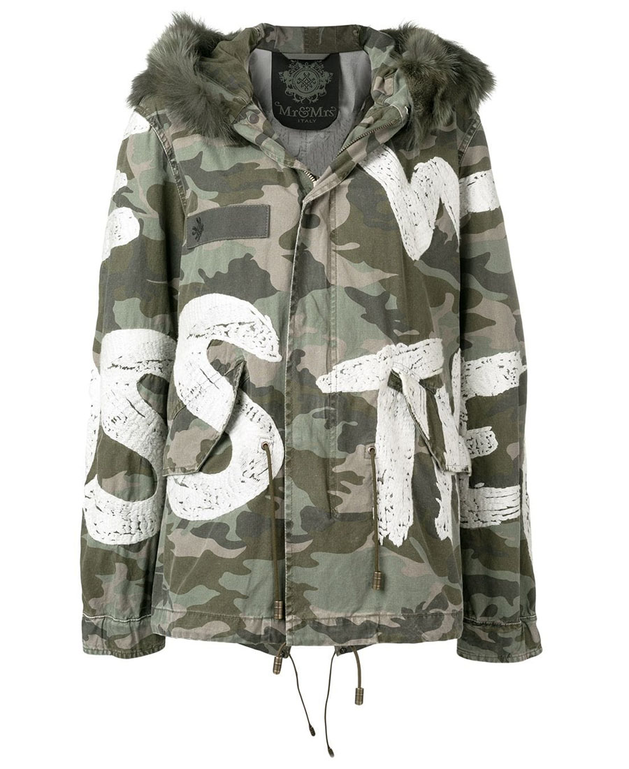 Mr & Mrs Italy Camouflage Print Jacket In Green