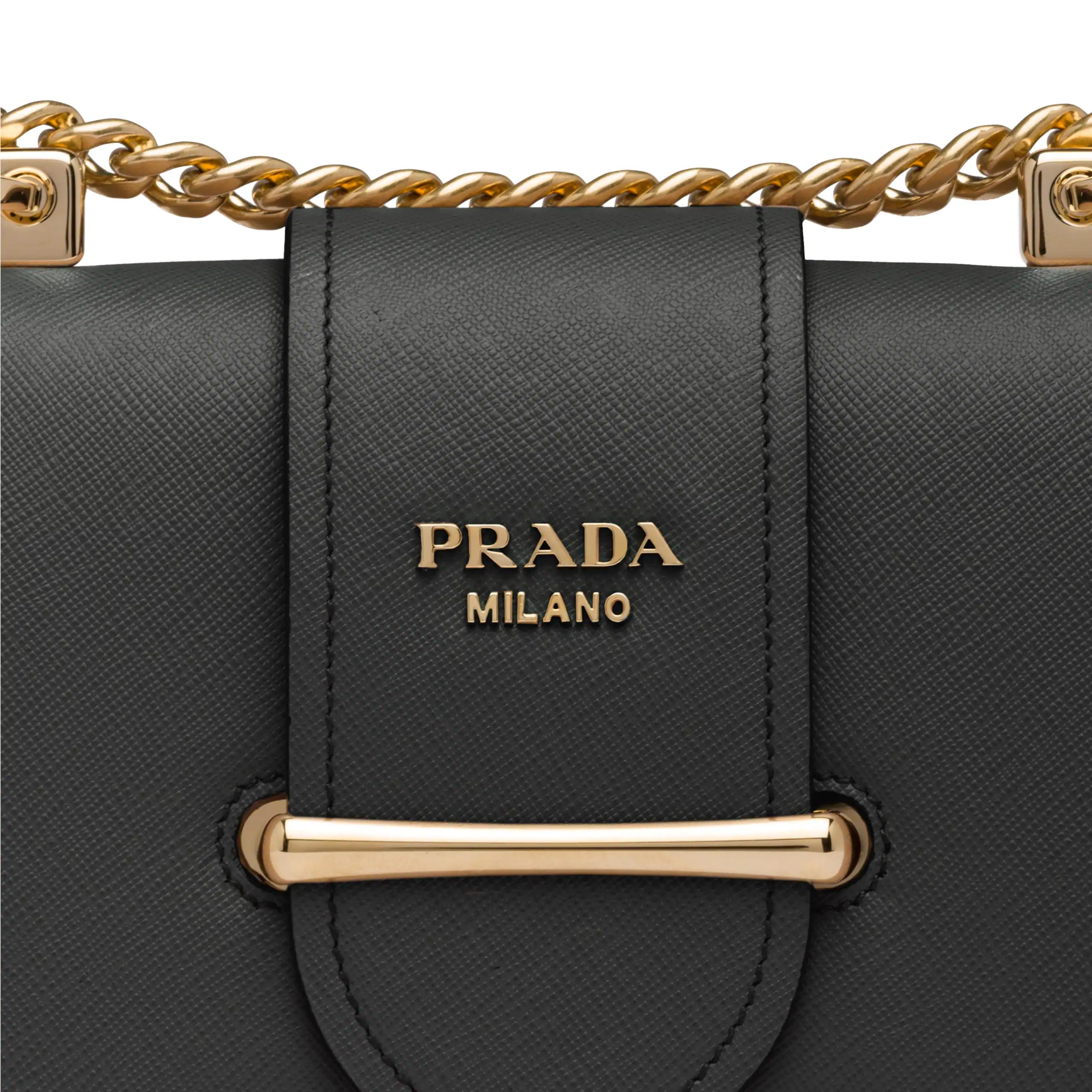 Prada Sidonie Textured-Leather Shoulder Bag In Black