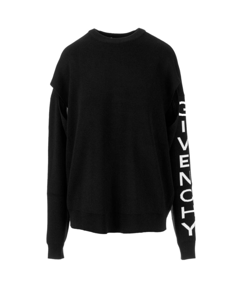 Givenchy 黑色仿旧logo针织套衫 In Black
