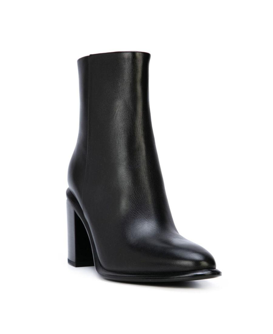 Alexander Wang Anna Block-Heel Leather Booties - Rhodium-Tone Hardware In Black