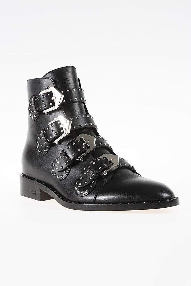 Givenchy Ankle Boots Havanna Calfskin Logo Metallic Black