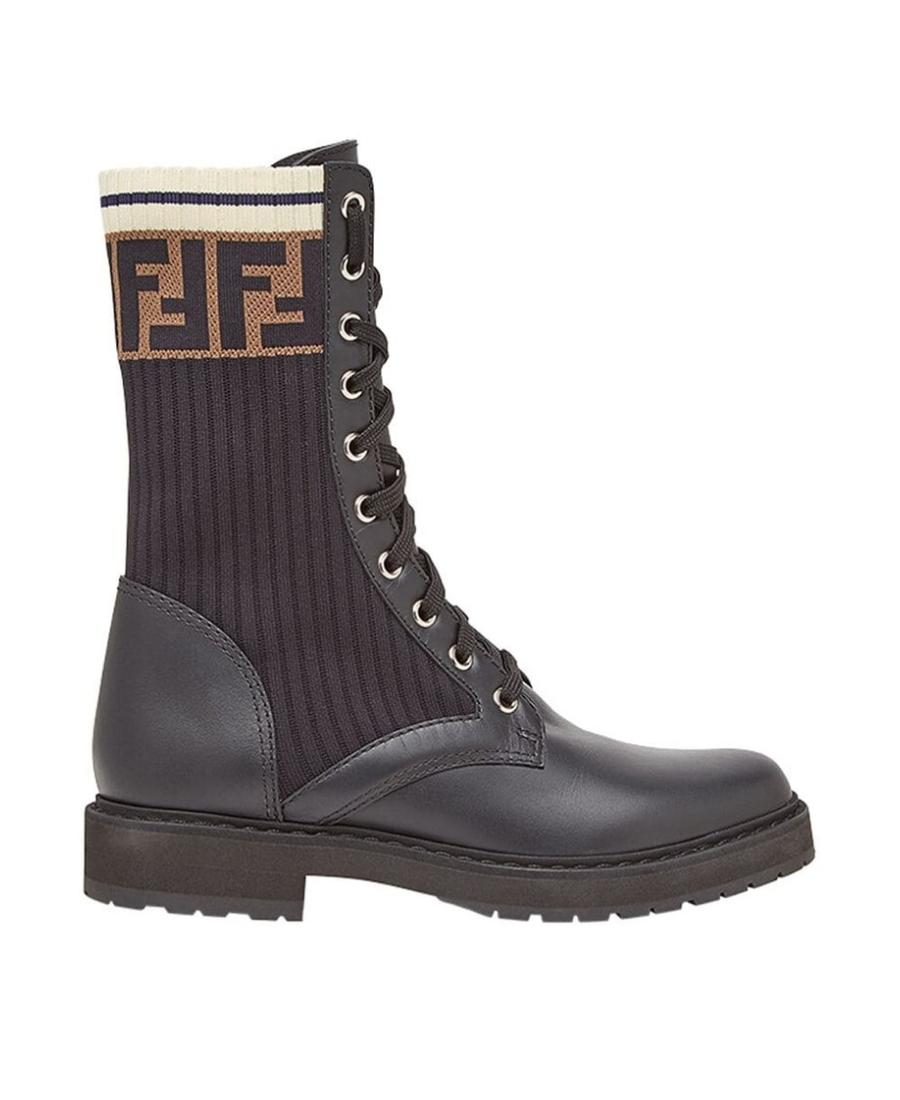Fendi Rockoko Logo-Jacquard Stretch-Knit And Leather Ankle Boots In F13Mc-Black+Bl Tab.Black M