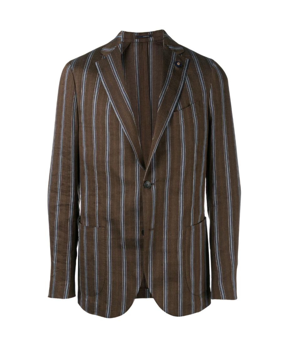 Lardini Striped Single-breasted Blazer - 棕色 In Brown