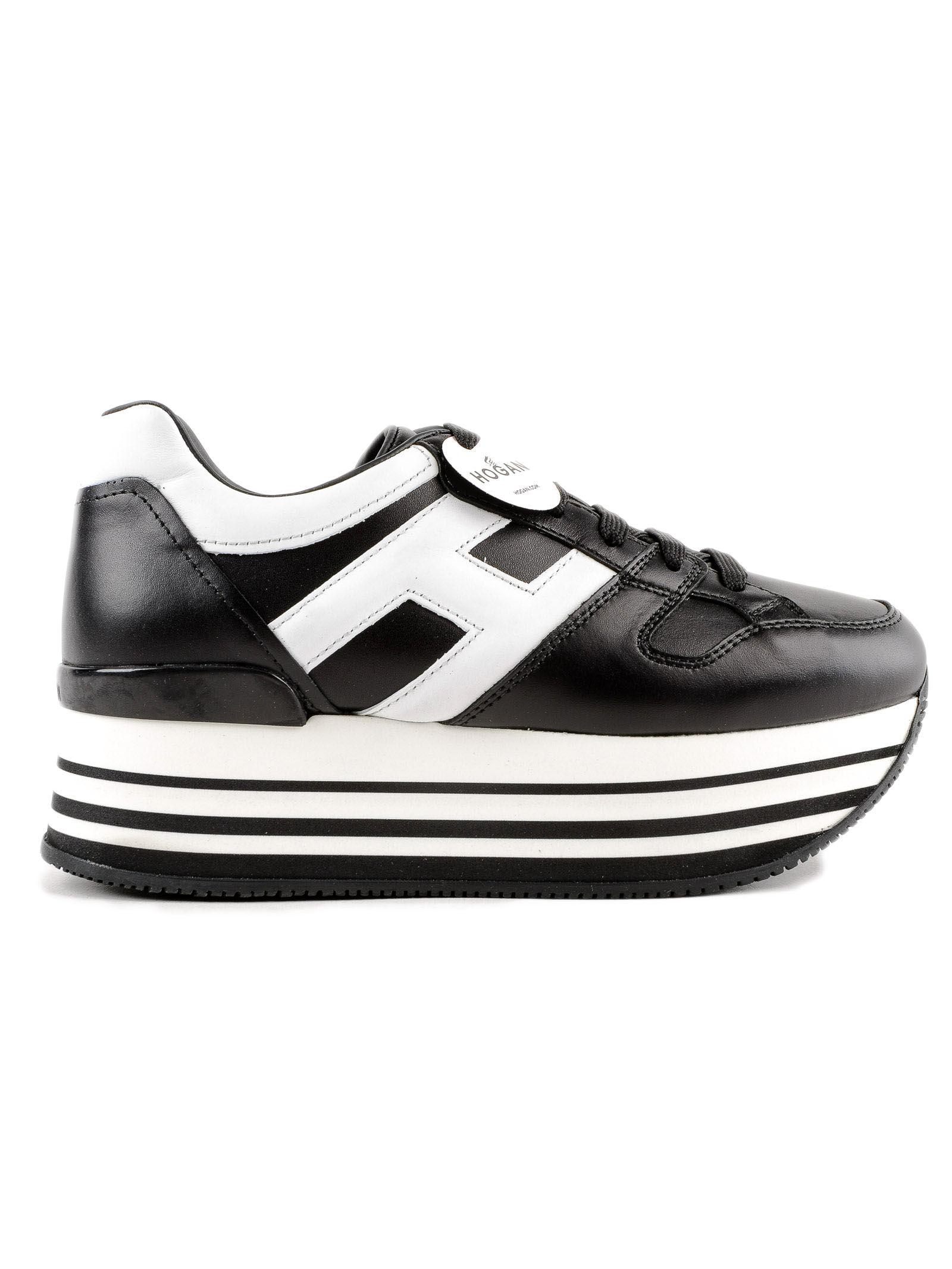 Shop Hogan Maxi H222厚底运动鞋 In Black/white