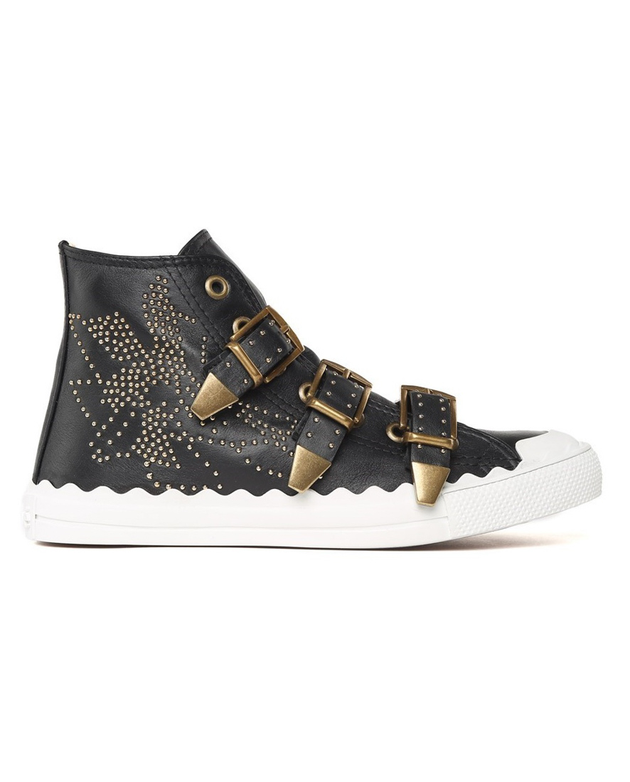 Chlo 201 Kyle Spikes Black Leather High Top Sneakers Modesens