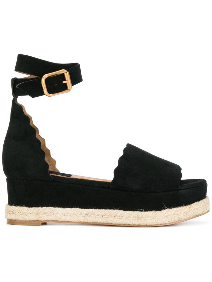 ChloÉ Chloe Black Suede Lauren Espadrille Sandals In Nr001 Black