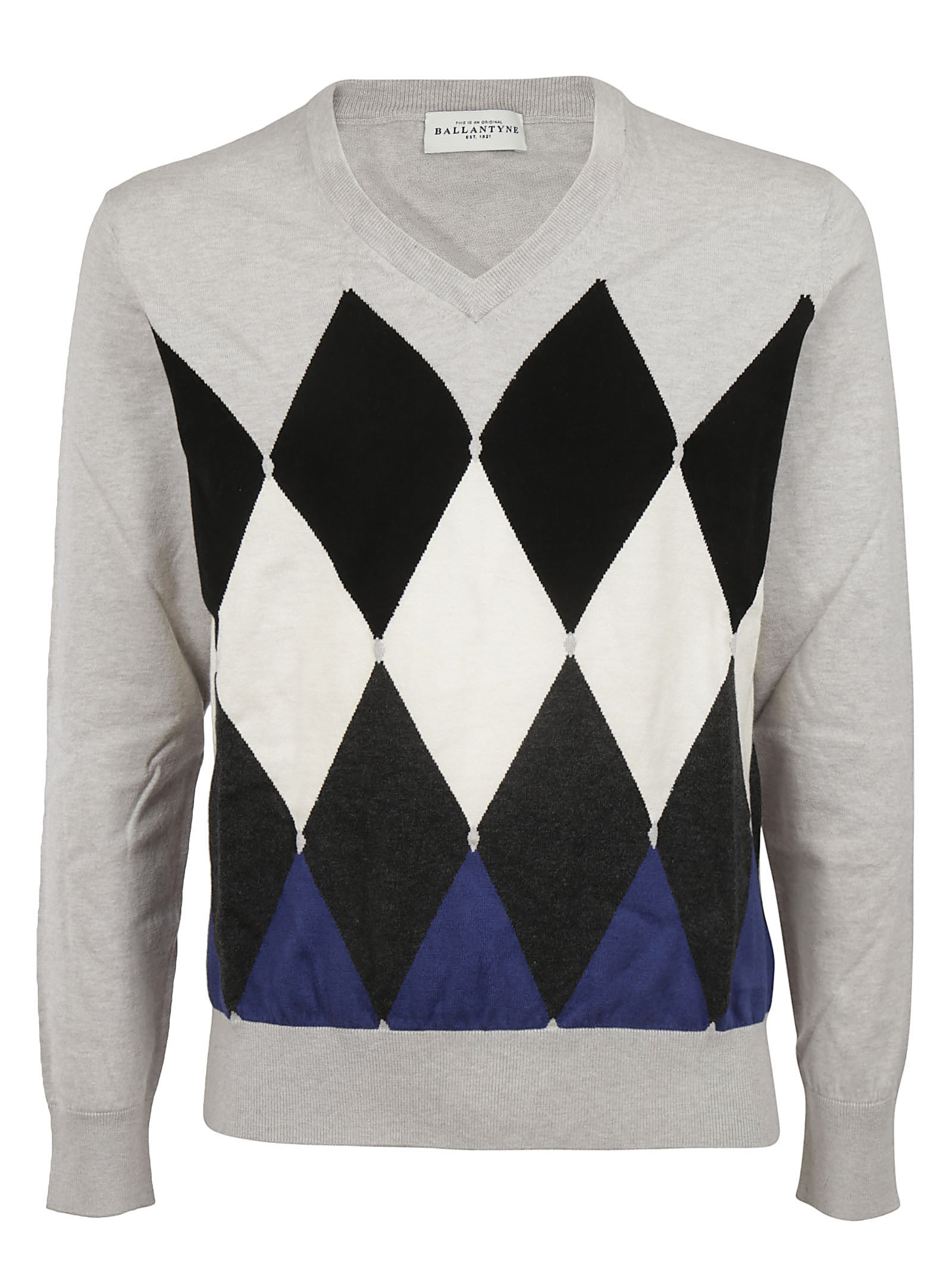 Ballantyne Diamond Pattern Pullover In Gray