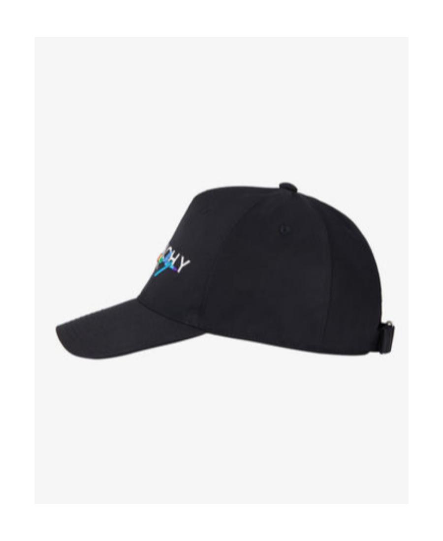 Givenchy Rainbow Logo Cotton Canvas Baseball Hat In Black
