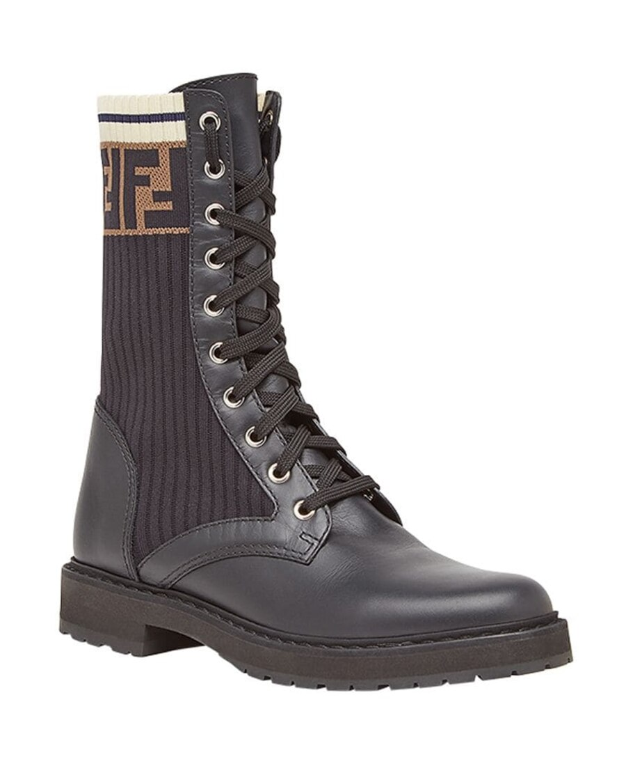 Fendi Rockoko Logo-Jacquard Stretch-Knit And Leather Ankle Boots In Black