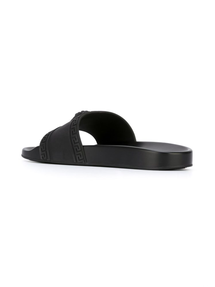 Versace Black Color Palazzo Medusa Pool Slides