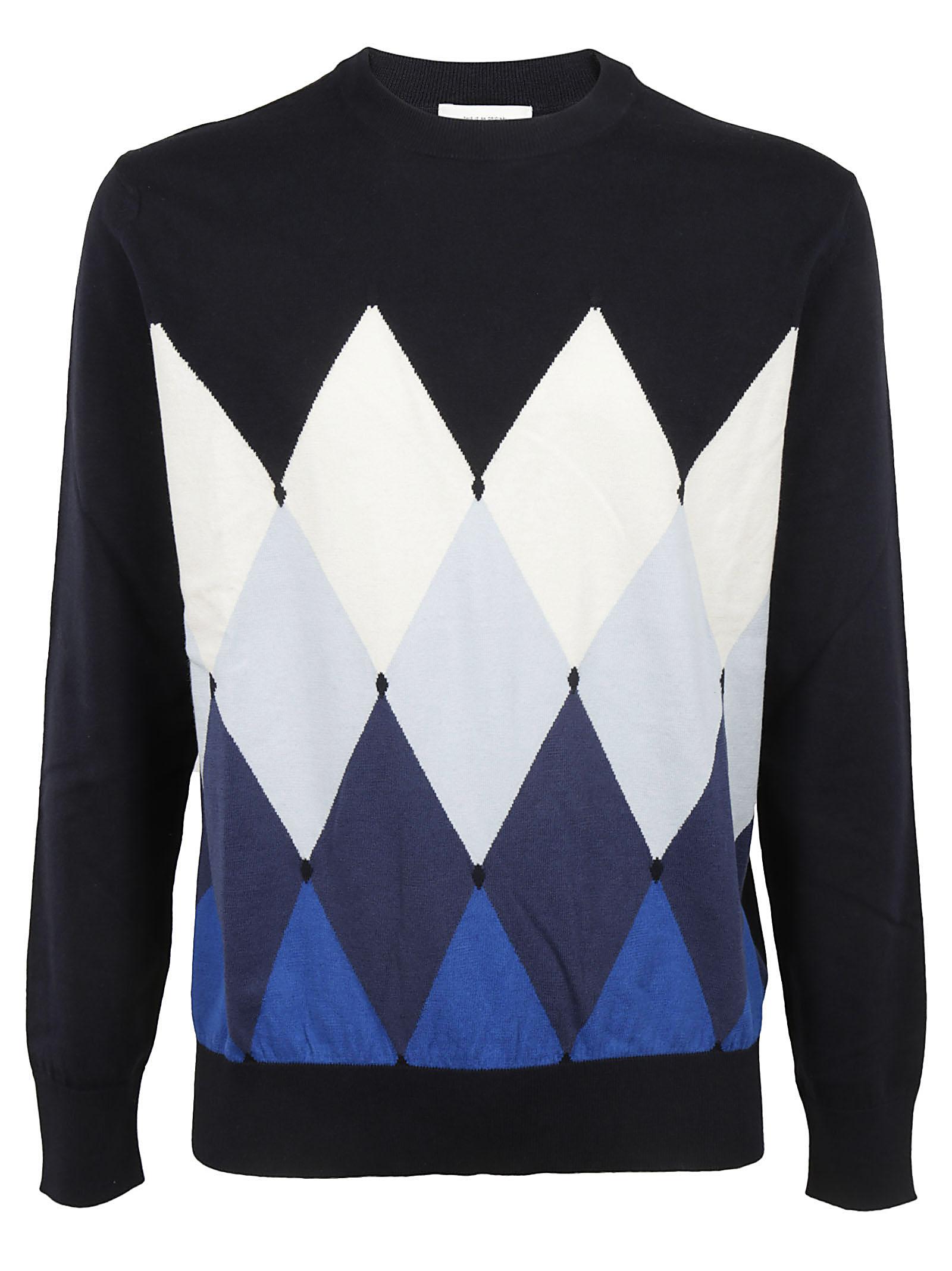 Ballantyne Diamond Pattern Pullover In Blue